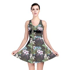 Black Beutiful Watercolor Pattern With Reptiles Chameleon Reversible Skater Dress