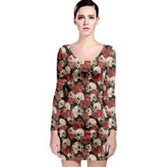 Brown Skull and Flowers Day of the Dead Vintage Long Sleeve Bodycon Dress