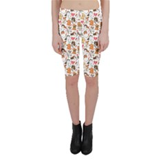 Colorful Pattern for Dog Lovers with Dogs and Hearts Cropped Leggings