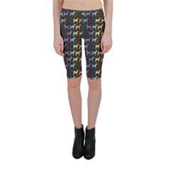 Colorful Bright Spectrum Pattern of Dog Silhouettes on Black Cropped Leggings