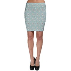 Green Pattern with Nautical Elements Bodycon Skirt