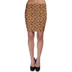 Brown Pattern Of African Tribal Musicians Bodycon Skirt