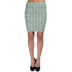 Green Old Boards of Ship Deck Pattern Painted By Anchor Wheel Bodycon Skirt