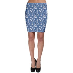 Blue Hawaiian Pattern With Hibiscus Flowers Surf Bodycon Skirt