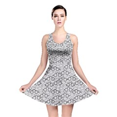 Gray Pattern Retro Glasses Reversible Skater Dress