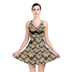 Brown Pattern With Owl Reversible Skater Dress