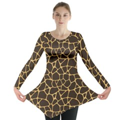 Brown A Brown And Yellow Giraffe Spotted Repeatable Long Sleeve Tunic Top