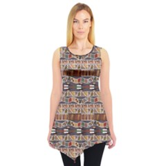 Brown In The African Style Sleeveless Tunic Top