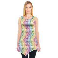 Colorful Pastel Rainbow Petals Sleeveless Tunic Top