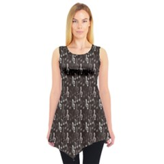 Black Pattern With Music Notes Treble Clef Sleeveless Tunic Top