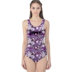 Purple Patchwork Pattern Flowers One Piece Swimsuit