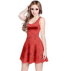 Red Mushroom Pattern Sleeveless Dress