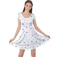 Blue Watercolor Hearts Pattern Cap Sleeve Dress