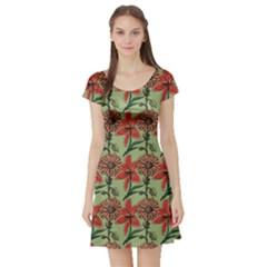 Red Coloured Pattern Motive Flowers Short Sleeve Skater Dress