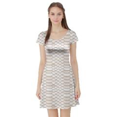 Nude Snake Skin Texture Pattern White Short Sleeve Skater Dress