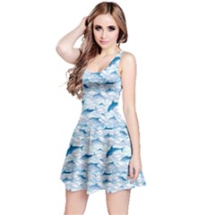 Blue Dolphin Pattern Sea Waves and Fish Reversible Sleeveless Dress