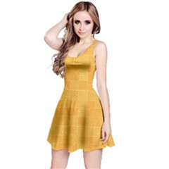 Yellow Abstract Square Doodle Pattern Reversible Sleeveless Dress
