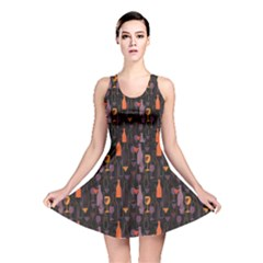 Colorful Pattern for Wines Menu Reversible Skater Dress