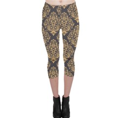 Yellow Damask Pattern Element Capri Leggings