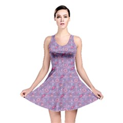 Purple Pattern Donuts Candies and Lollypops Check Reversible Skater Dress