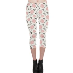 Pink Floral Pattern Capri Leggings