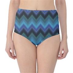 Blue Green and Blue Multicolor Horizontal Fashion Chevron High Waist Bikini Bottom