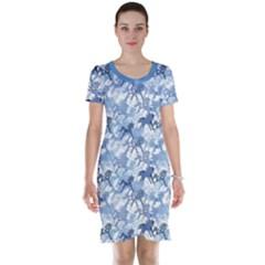 Blue Pattern Of Horses Short Sleeve Nightdress
