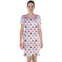 Pink Watercolor Cupcakes Pattern Hand Drawn Short Sleeve Nightdress