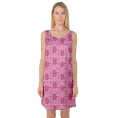 Pink Pattern with Cute Pigs Sleeveless Satin Nightdress