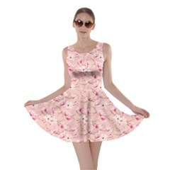 Pink Delicate Magnolia Flowers Pink Pattern Skater Dress