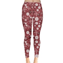 Red Red Purple and White Floral Pattern Leggings