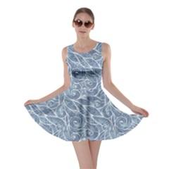 Blue Light Blue Hair Curls Waves Pattern Skater Dress
