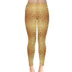 Yellow Golden Ornaments or Pattern Leggings