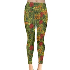 Green Hand Drawn Floral Pattern Leggings
