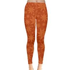 Orange Indian Motif Pattern On Orange Leggings