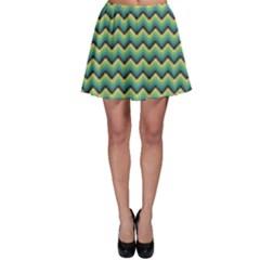 Green Aztec Pattern Skater Skirt