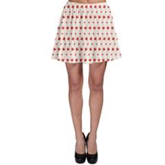 Red Pattern Hearts Skater Skirt