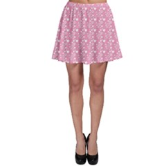 Pink Pattern Hearts Skater Skirt