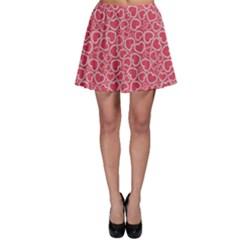 Pink Heart Shape Pattern Skater Skirt