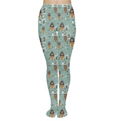Blue Christmas Pattern Winter Village Scene Tights