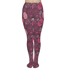 Red Pink And Purple With Skulls Tights