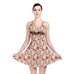 Red Floral Pattern In Retro Style Reversible Skater Dress