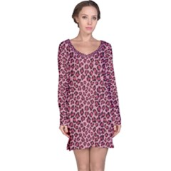 Purple Pink Leopard Texture Pattern Long Sleeve Nightdress