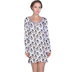Black Pattern With Cartoon Penguins Long Sleeve Nightdress