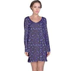 Blue Winter Pattern With Branches Long Sleeve Nightdress