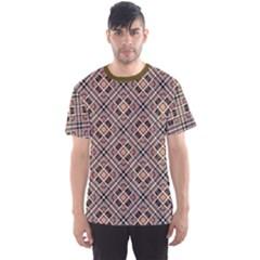 Brown Brown Black Pink Checkered Diagonal Pattern Men s Sport Mesh Tee