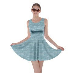 Blue Raining Pattern With Umbrellas In Puddles Skater Dress