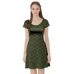 Dark Green Flower And Cross Pattern Short Sleeve Skater Dress