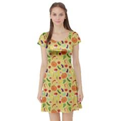 Colorful Vegetables Pattern Short Sleeve Skater Dress