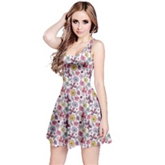 Purple White Floral Pattern With Vivid Flowers Butterflies Sleeveless Dress